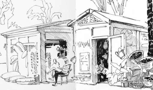 Urban Sketching - schwarz auf weiß