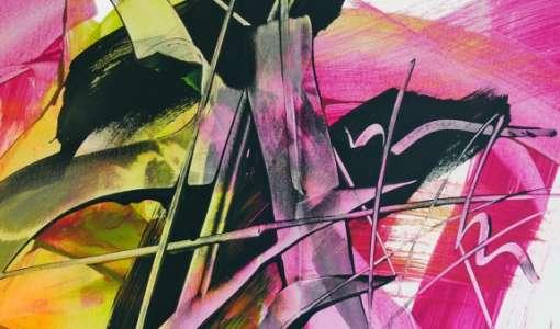 Rakel und Flächenpinsel - Acryl abstrakt
