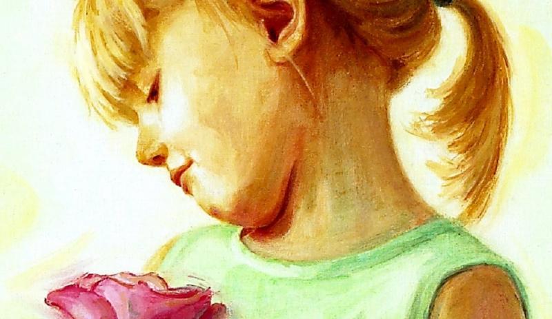 Lebendiges Kinderporträt in Öl